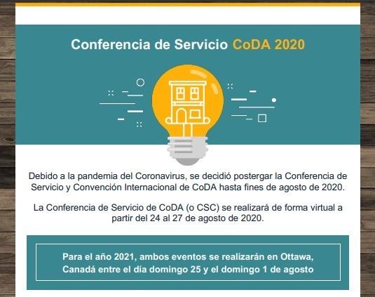 Conferencia de servicio CoDA 2020