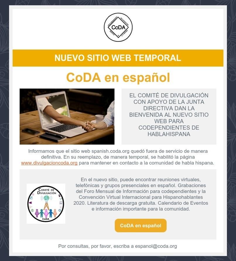 Nuevo sitio web temporal
